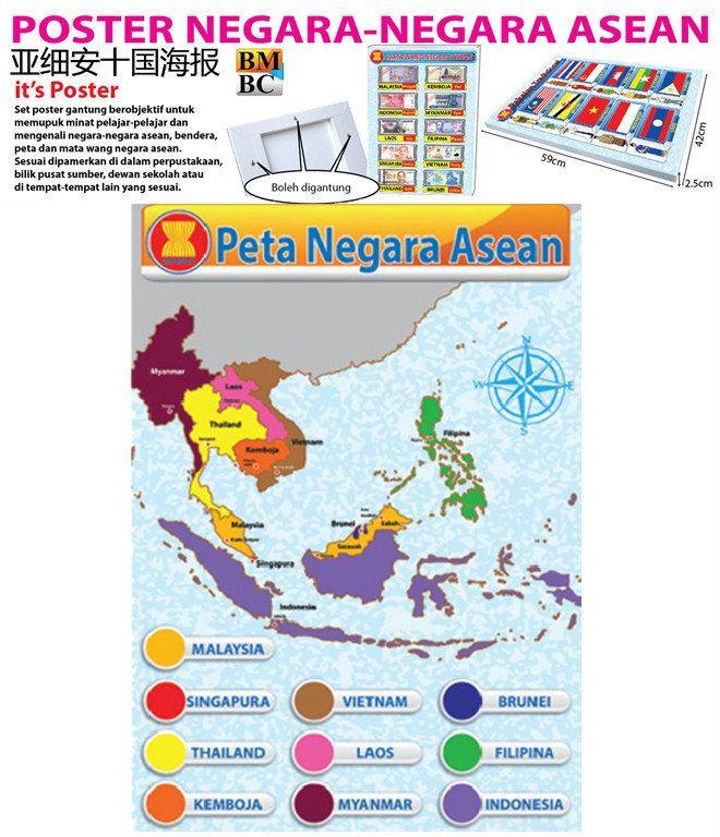 Johor Itkt 021 Peta Negara Asean Bm Poster Book Moral
