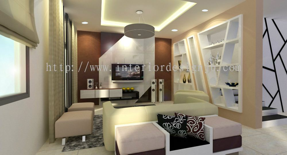 Johor taman sutera living hall tv cabinet design for Interior cupboard designs for hall