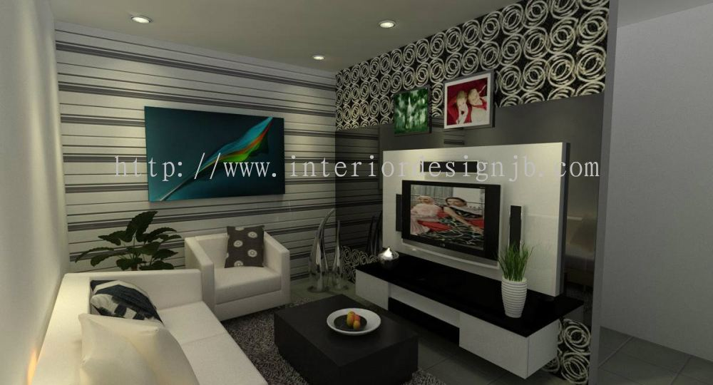 Johor bandar baru uda family hall design tv cabinet for Hall design for medium family