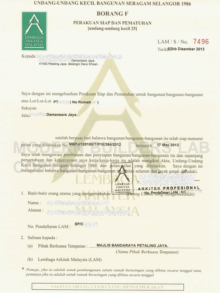 Selangor Ccc Mpsj Damansara Jaya Ccc Certificate Of Completion And