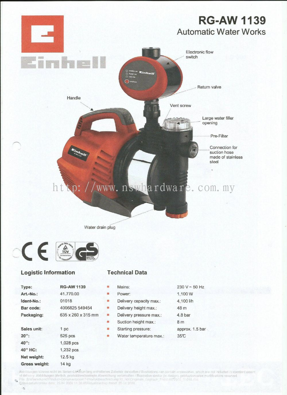 Selangor AUTOMATIC WATER PUMP - Einhell from Ng Sim Won Hardware ...