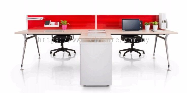 Selangor Rectangular Workstation With Abies Leg And Red Fabric Panel