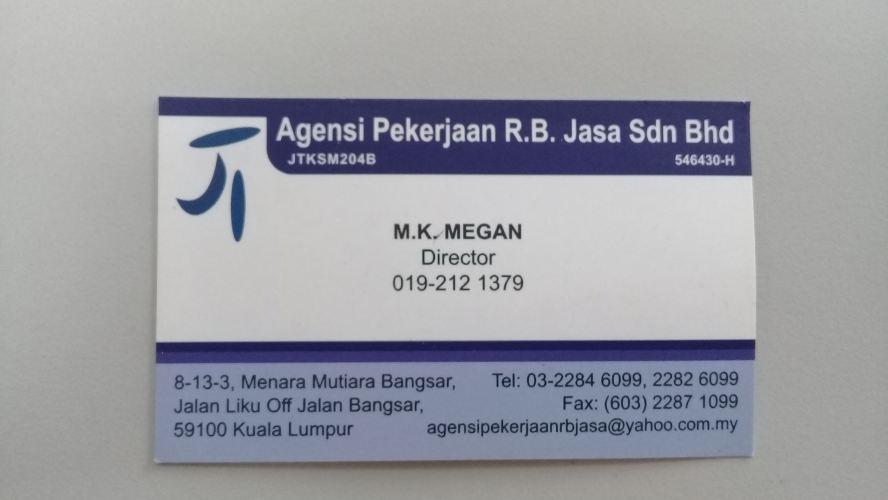 agensi pekerjaan R.B Jasa Sdn Bhd