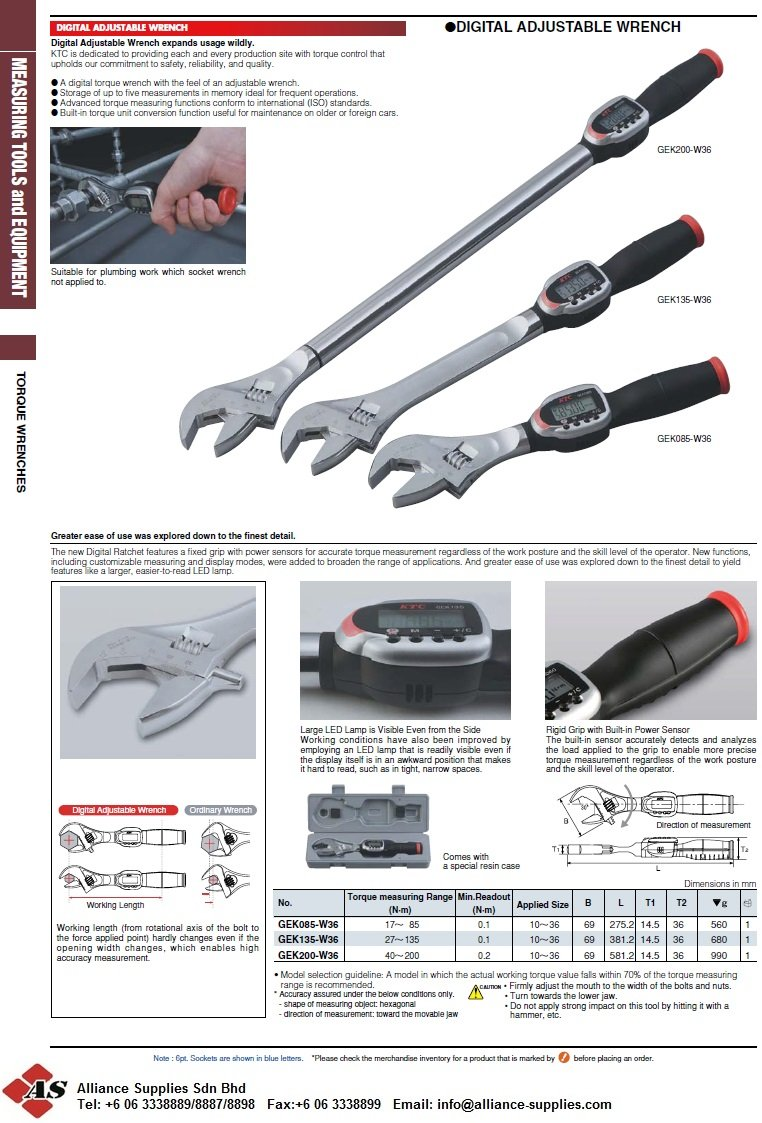 For QC: Digital Adjustable Wrenches, Size:10-36mm, Nm:17-200