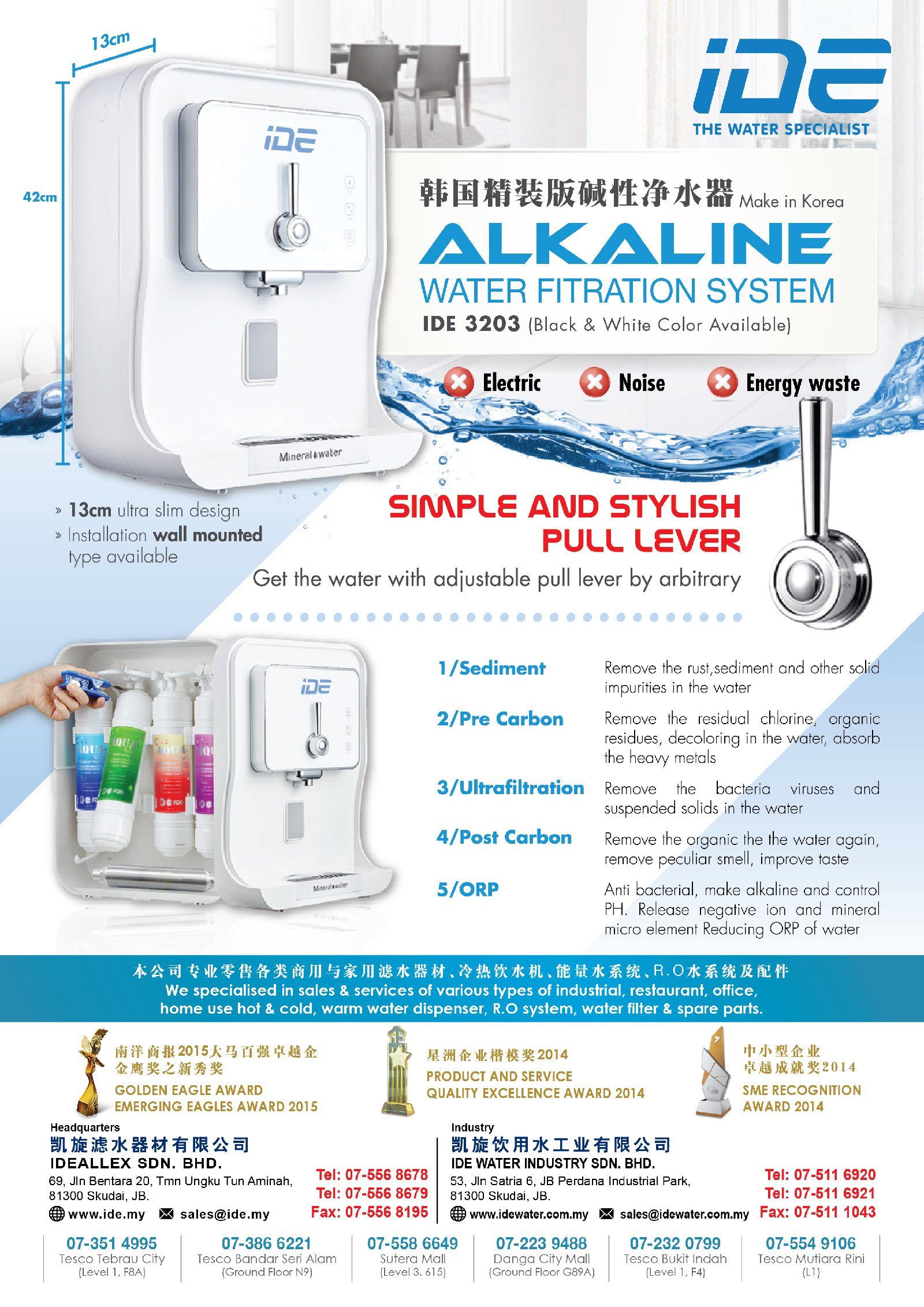 IDE Groups One Stop Water Station 2016 CNY promotion Alkaline Water dispenser