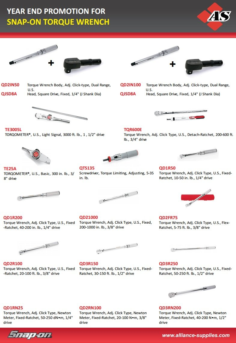Year End Promo: SNAP-ON Torque Wrenches