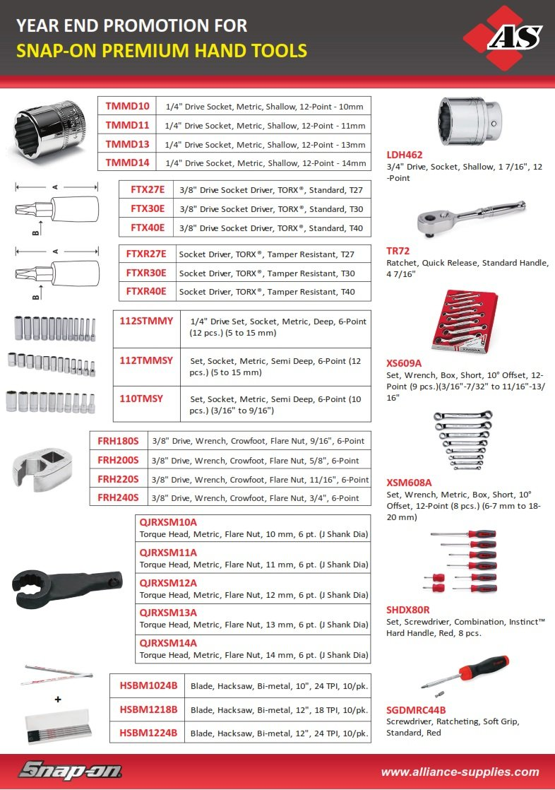 Year End Promo: SNAP-ON Hand Tools