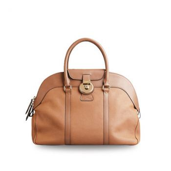 BURBERRY large grainy leather bowling bag