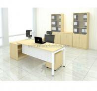 DIRECTOR TABLE METAL N-LEG C/W STEEL MODESTY PANEL WITH SIDE CABINET & MOBILE PEDESTAL 3D FULL SET MU 99M