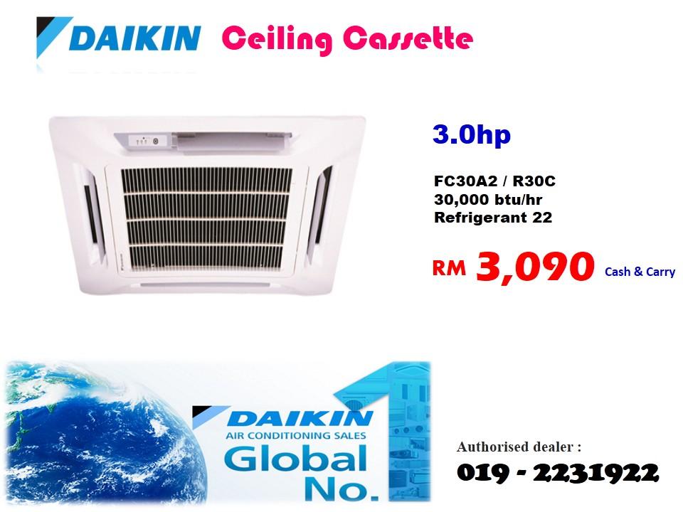 3hp Daikin Ceiling Cassette Fc30a2 R30c