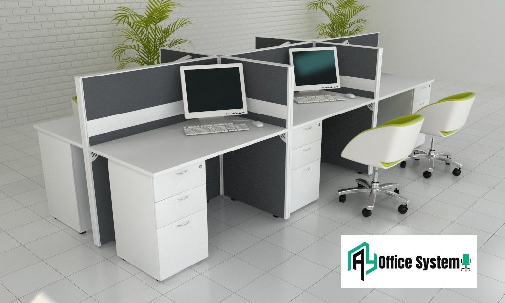 Cluster of 6, Office Partition Workstation, AY Office System