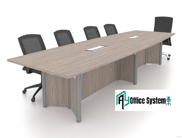 Boat Shape Pole Leg Meeting Table, AY Office System