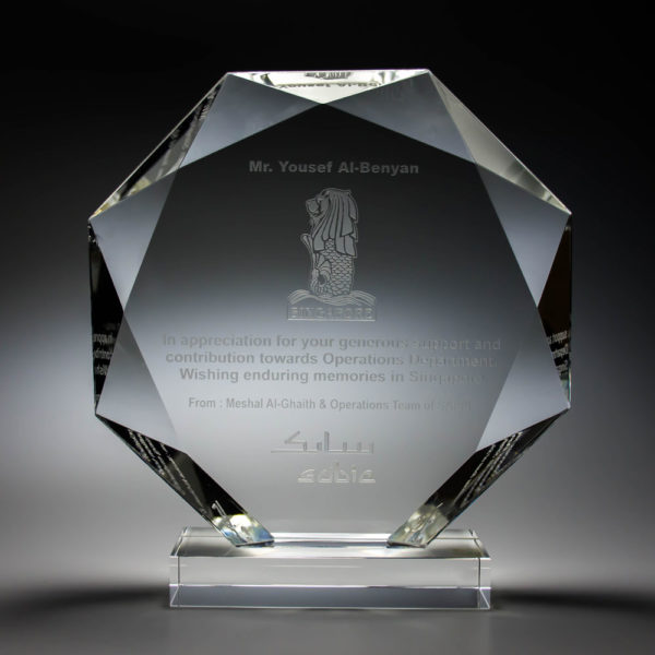 Octagonal Crystal Trophy Supplier at ClazzTrophy Malaysia
