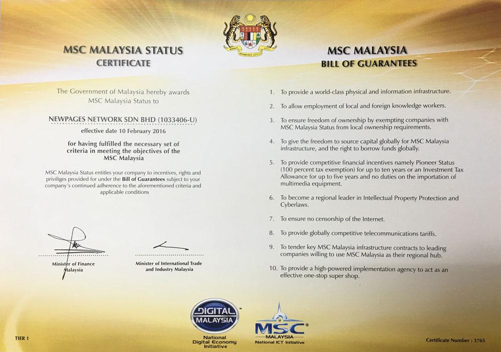 MSC Malaysia Status Certificate